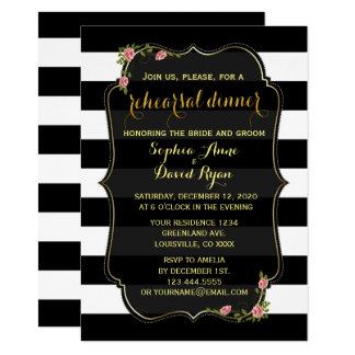 Floral Black White Stripes Rehearsal Dinner Invite