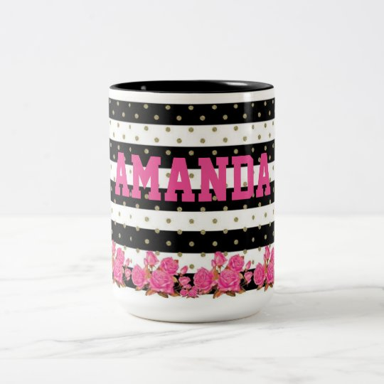 Floral Black & White Stripes with Gold Polka