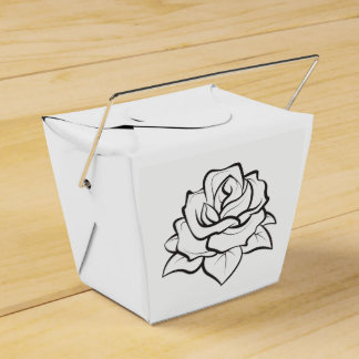 Floral Black & White Wedding Rose Flower Party Favour Box