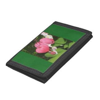 Floral Bleeding Heart Black Nylon Trifold Wallet
