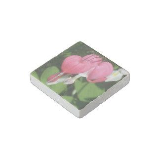 Floral Bleeding Heart Natural Primed Marble Magnet Stone Magnet