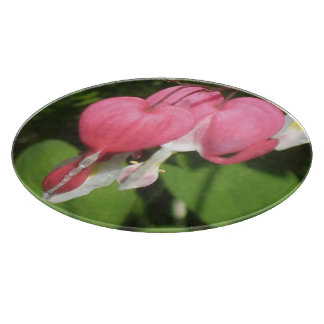 Floral Bleeding Heart Round Glass Chopping Board