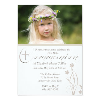 Floral Blessing Photo First Holy Communion  Invita 13 Cm X 18 Cm Invitation Card