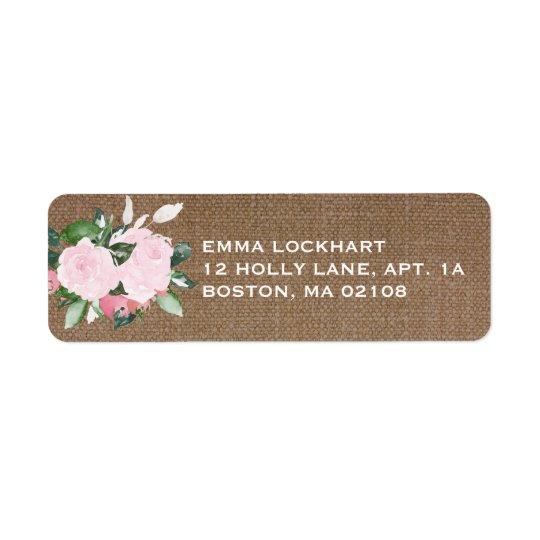Floral Blooms Burlap Return Address Label