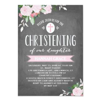 Floral Blooms Chalkboard | Christening Invitation