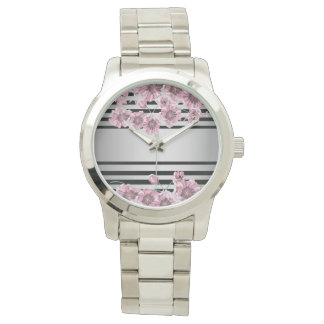 Floral Blossom Purple Silver Elegant Stylish Chic Watch