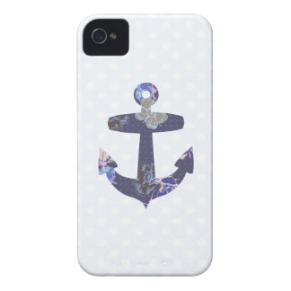 Floral blue anchor blackberry case