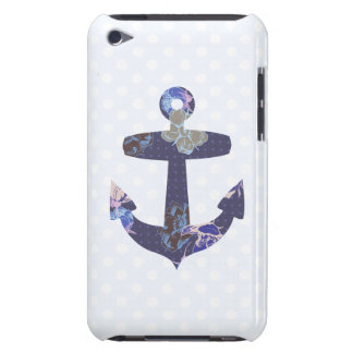 Floral blue anchor ipod case