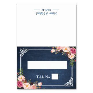 Floral Blue Chalkboard Wedding Seating Place Table Cards
