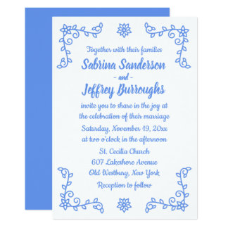 Floral Blue Cornflower Flowers Laurel Leaf Wedding Card