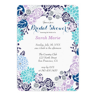 Floral Blue Flower Wreath Party Invitation