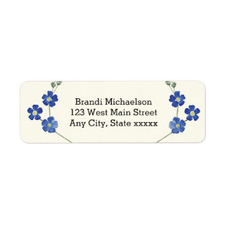 Floral Blue Forget Me Nots Watercolor Flower Return Address Label