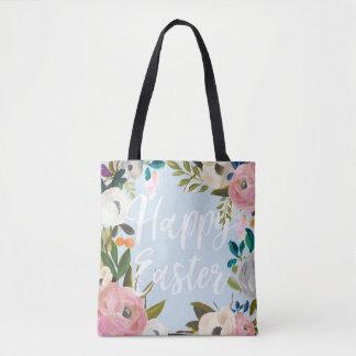 Floral Blue Happy Easter | Easter Egg Hunt Tote Bag
