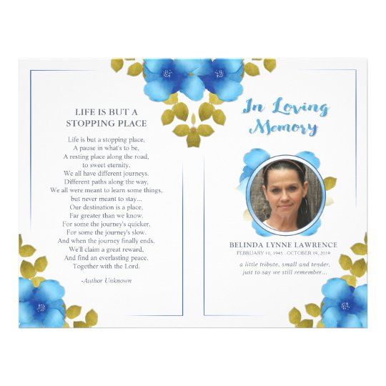 Floral Blue Memorial or Funeral Service Program Flyer