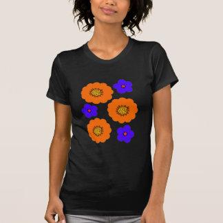 Floral Blue Orange design retro t shirts