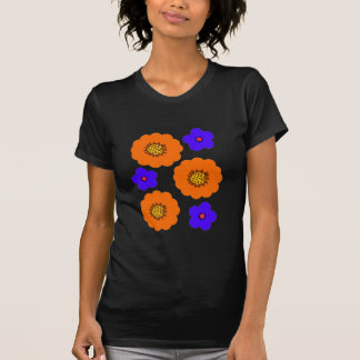 Floral Blue Orange design retro t shirts