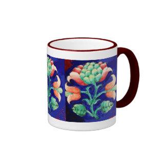 FLORAL , blue pink green Mug