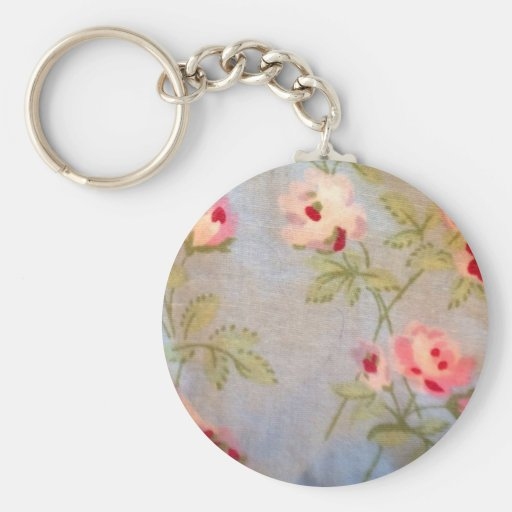 Floral blue red vintage shabby chic victorian rose key chains