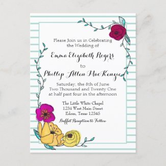 Floral Blue Stripe Magenta Poppy Yellow Wedding Invitation Postcard