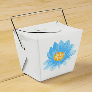 Floral Blue Turquoise Flower Watercolor Wedding Favour Box