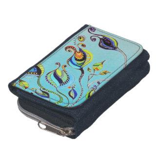 floral blue wallet