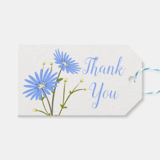 Floral Blue Watercolor Daisies Thank You Flowers Gift Tags