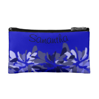 Floral Blues and Grays Graphic Personalized Makeup Bag