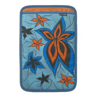 Floral blues n orange MacBook sleeve