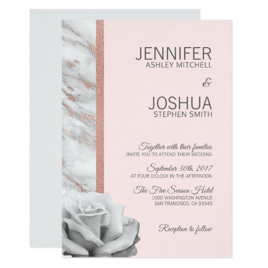 Floral Blush Pink Rose Gold Foil Grey Wedding Invitation Zazzle Co Uk
