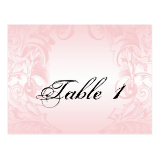 Floral Blush Pink Vintage Wedding Table Number Postcard