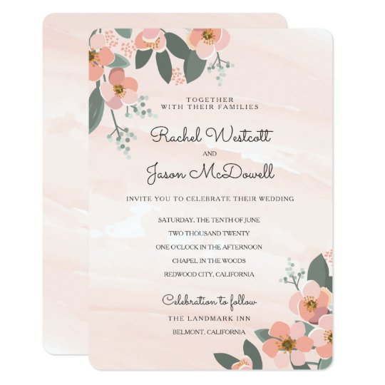 Floral Blush Wedding Suite | Watercolor Wash Card