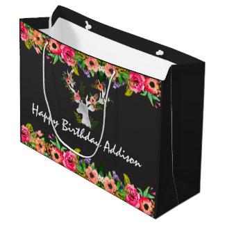 Floral Boho Chic Deer Personalized Large Gift Bag