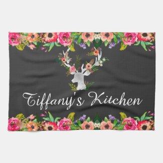 Floral Boho Deer Monogram Name Kitchen Tea Towel