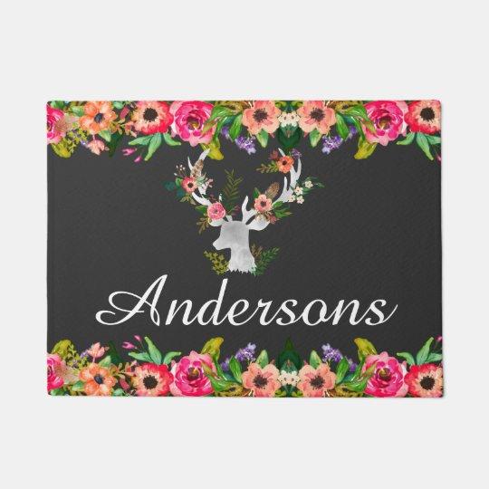 Floral Boho Deer Personalised Monogram Door Mat