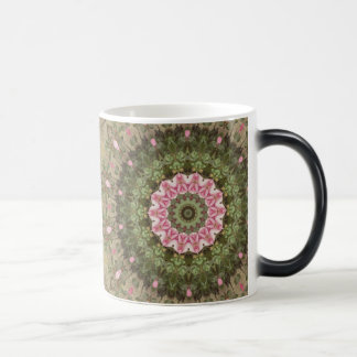 Floral Boho Ethnic Kaleidoscope, Pink Green Brown Magic Mug