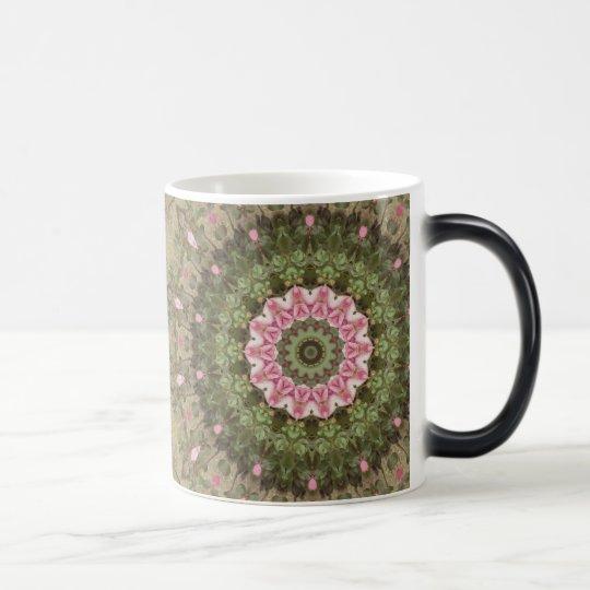 Floral Boho Ethnic Kaleidoscope, Pink Green Brown Magic