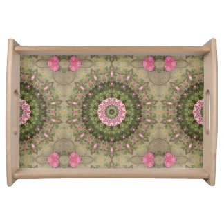 Floral Boho Ethnic Kaleidoscope, Pink Green Brown Serving Tray