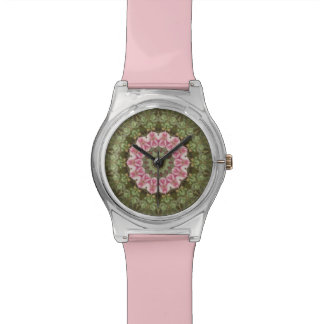 Floral Boho Ethnic Kaleidoscope, Pink Green Watch