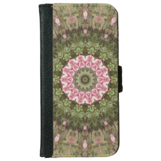 Floral Boho Kaleidoscope, Pink Green Brown iPhone 6 Wallet Case