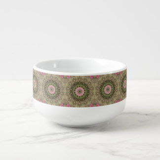 Floral Boho Kaleidoscope, Pink Green Brown Soup Mug