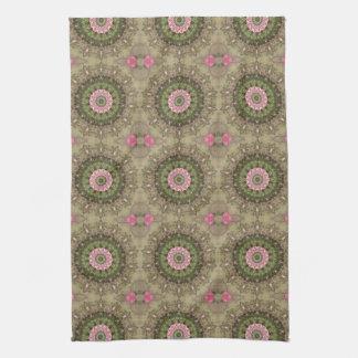 Floral Boho Kaleidoscope, Pink Green Brown Tea Towel