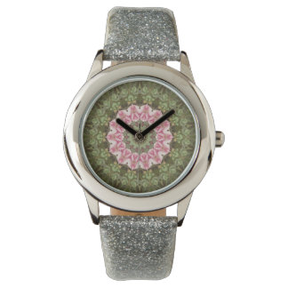 Floral Boho Kaleidoscope, Pink Green Watch