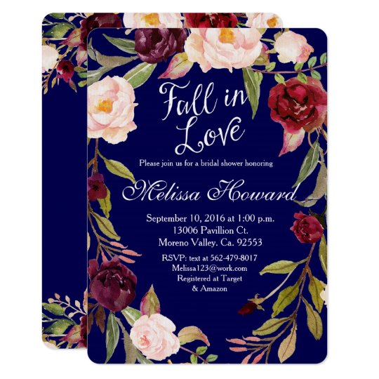 Floral Boho Navy Blue Bridal shower Invitation