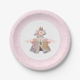 Floral Boho Tribal Teepee Wild One 1st Birthday 7 Inch Paper Plate