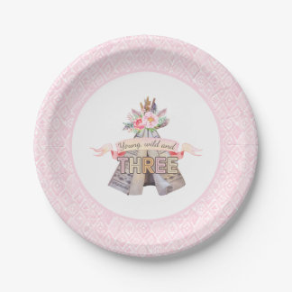Floral Boho Tribal Teepee Young Wild 3rd Birthday Paper Plate