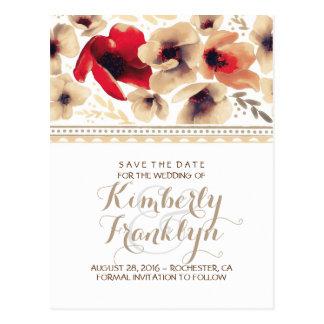 Floral Boho Vintage Save the Date Postcard