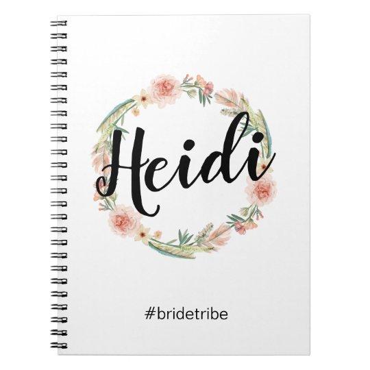 Floral Boho Watercolor Painted Bridesmaid Notebook