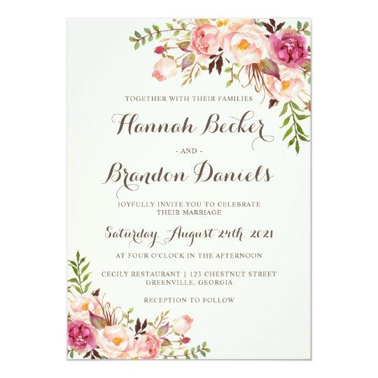 Floral Boho Wedding Invitation