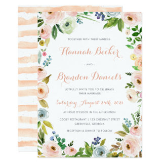 Floral Boho Wreath Wedding Invitation