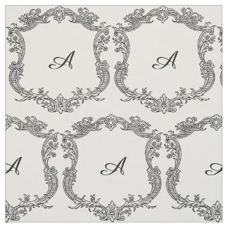 Floral Border with Monogram Fabric